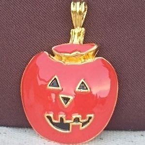 Vtg Gold Enameled Pumpkin Jack O'Lantern Brooch